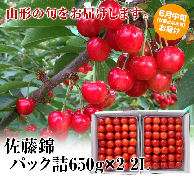 【父の日用】佐藤錦パック詰650g×2